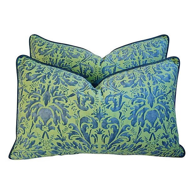 Fortuny Sevres Silk & Velvet Pillows - A Pair - Image 1 of 7