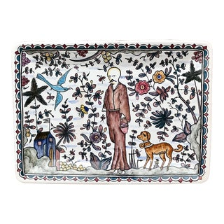 Hand Painted Ceramic Rectangular Tray With Garden Figural Design, Signed For Sale