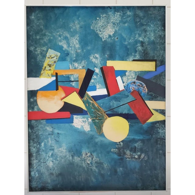 1960 Abstract Cubist Mid Century Modern Huge Original Painting For Sale - Image 10 of 10