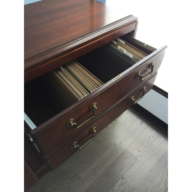 Kimball Chippendale Wood & Brass Credenza For Sale - Image 4 of 8