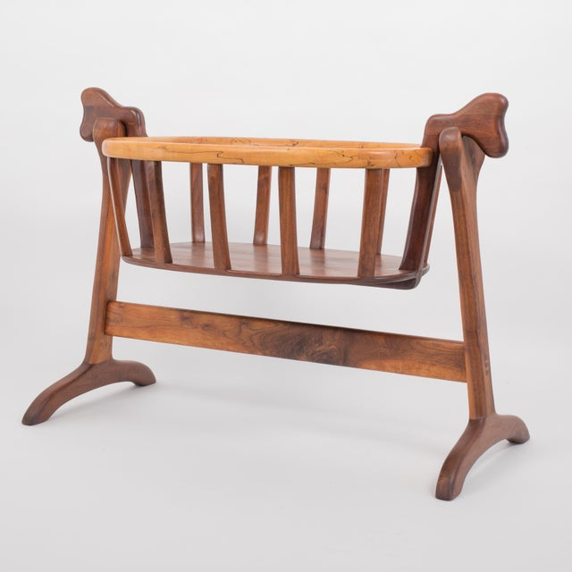 Mid-Century Modern Ejner Pagh American Craftsman Bassinet in Walnut For Sale - Image 3 of 11