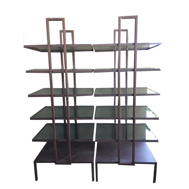 Contemporary Industrial Glass Shelves - a Pair For Sale - Image 3 of 3