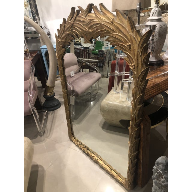 Vintage Gold Lacquered Palm Frond Wall Mirror For Sale In West Palm - Image 6 of 12