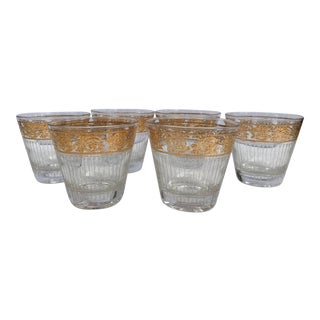 Mid-Century Hollywood Regency Lowball Glasses With Wide Gold Band and Icicle Design - Set of 6 For Sale