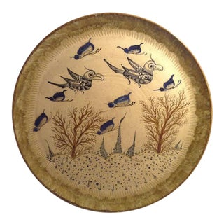 "Tonala Pottery Hand Painted Birds & Butterflies Plate - 14"" For Sale"