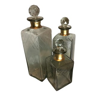 Square Etched Decanters With Faceted Stoppers - Set of 3 For Sale
