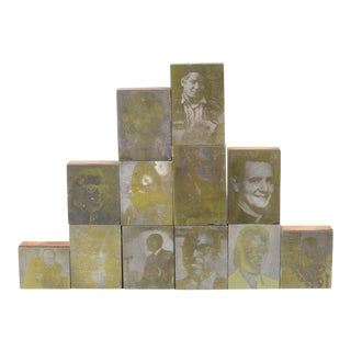 Collection of Gold Typeset Portrait Print Blocks C.1960-3 Sets Available For Sale