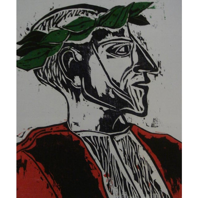 """1962 """"Laureate"""" Color Woodblock Print by William Wolff - Image 1 of 4"""