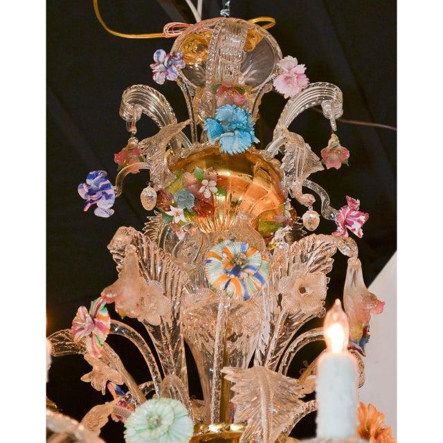 Antique Venetian Multi-Color Blown Glass Chandelier For Sale - Image 10 of 11