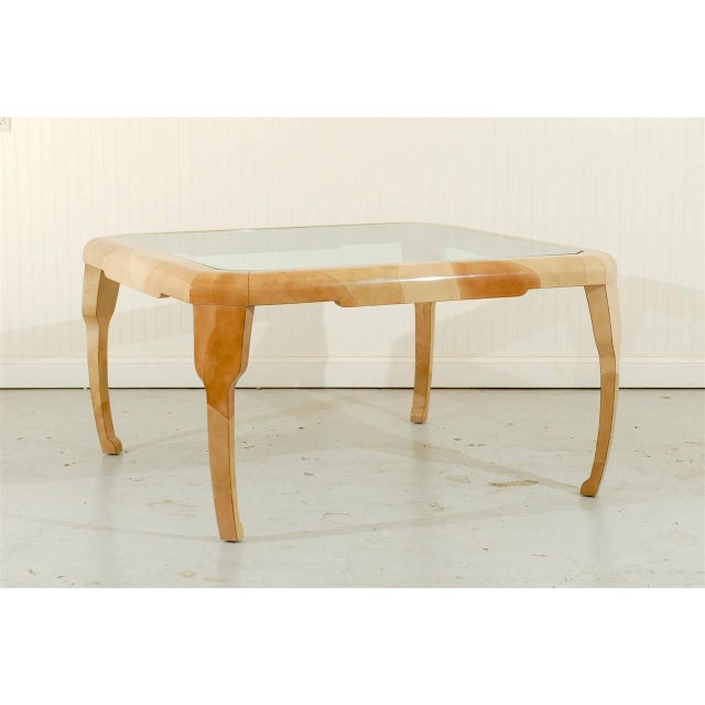 Contemporary Rare Lacquered Faux Goatskin Dining or Game Table by Alessandro for Baker For Sale - Image 3 of 10