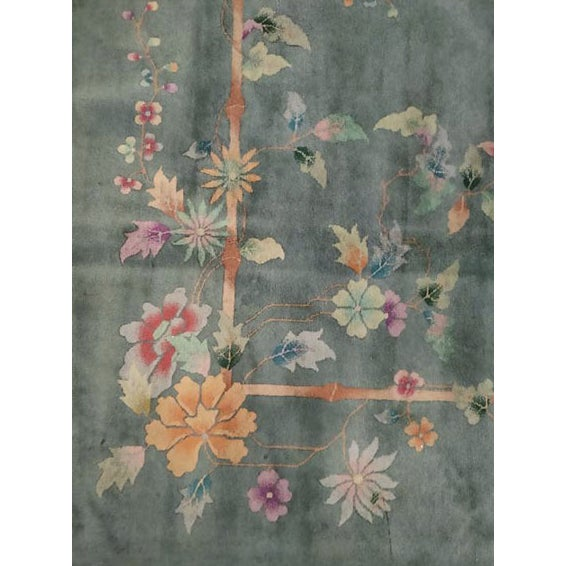 "Green Antique Chinese Art Deco Rug 8'10"" X 11'8"" For Sale - Image 8 of 12"