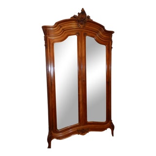 19th Century French Louis XVI Carved Walnut Armoire For Sale