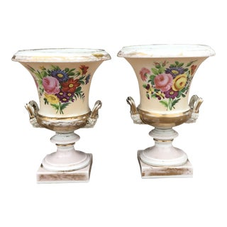 19th Century Old Paris Porcelain Urns - a Pair For Sale
