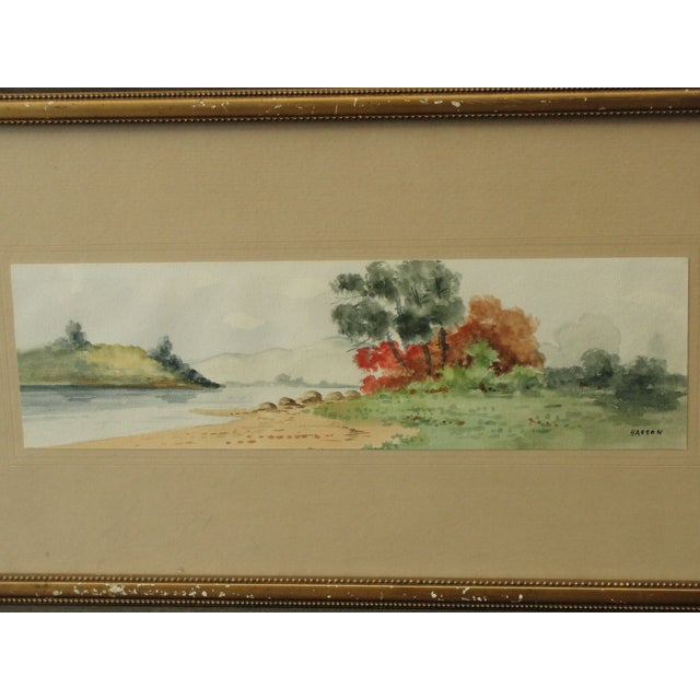 Antique Landscape Watercolor by Hasson - Image 3 of 9