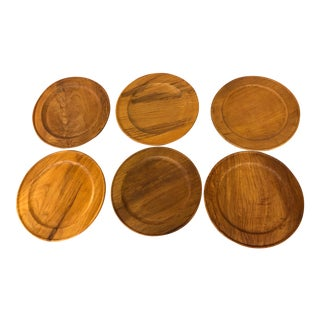Mid-Century Teak Stacking Plates by Winsome Trading - Set of 6 For Sale