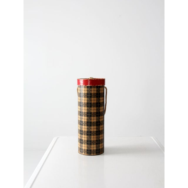 Mid-Century Plaid Tote Box For Sale - Image 4 of 8