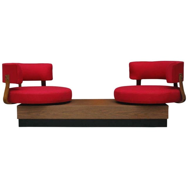 Red 1970s Mid-Century Modern Red Swivel Lounge Chairs Sofa on Platform Base For Sale - Image 8 of 8