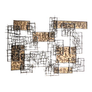 Mid-Century Modern Curtis Jere Brass and Nail Wall Sculpture