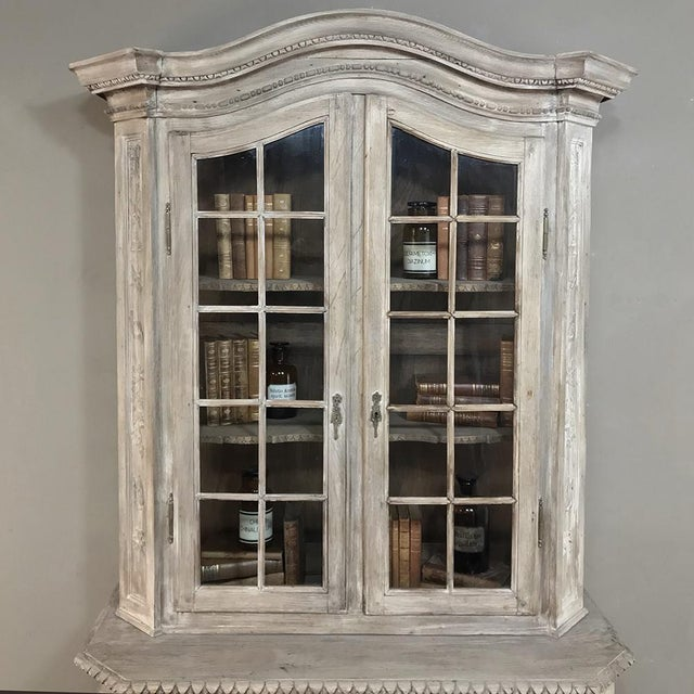 19th Century Country French Louis XVI Stripped Bookcase ~ Vitrine For Sale - Image 9 of 13