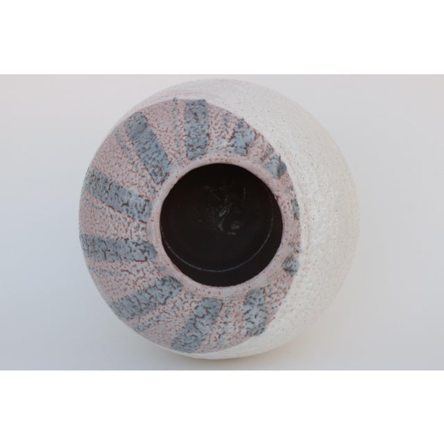 Scandinavian Style Round Pottery Vase With Stripes For Sale In Madison - Image 6 of 10