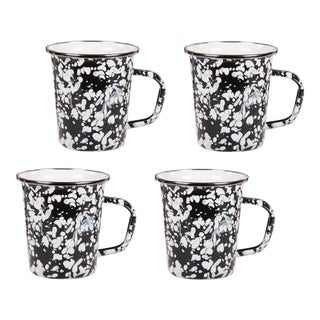 Latte Mugs Black Swirl - Set of 4 For Sale