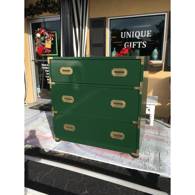Handsome little campaign chest in high gloss hunter green. Hardware is original with a slight patina which lends to it's...