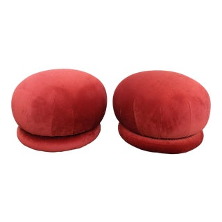 Soufflé Swivel Ottomans by Vladimir Kagan for Directional Reupholstered in Watermelon/Terra Cotta Velvet - a Pair For Sale