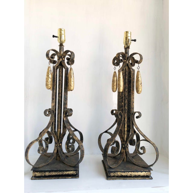 """Gold Brushed Metal Lamps With Four Hanging Brushed Gold Fobs 8.5"""" Square at Base x 24"""" High Three Pair Available"""