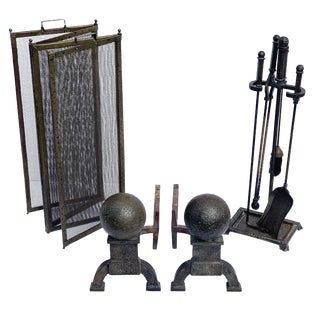 Late 19th Century Bradley and Hubbard Fireplace Andirons, Screen and Tools For Sale