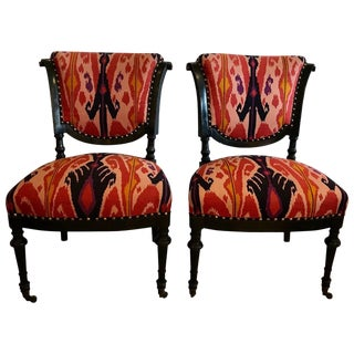 Chic Pair of French Side Chairs in Eye Popping Ikat For Sale