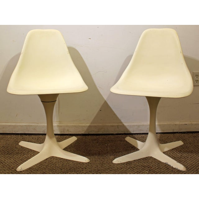 Burke Mid-Century Tulip Style Swivel Side/Dining Chairs - A Pair - Image 2 of 11