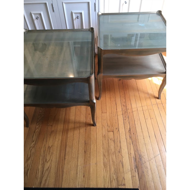 Leafed Glass Top Side Tables - a Pair For Sale - Image 9 of 13