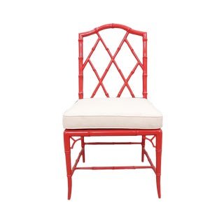 Woodbridge Furniture Faux Bamboo Coral Side Chair For Sale