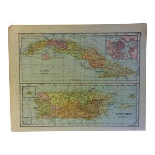 "Vintage Color Map on Paper, ""Cuba"" & ""Porto Rico"", Circa 1930 For Sale"