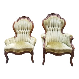 1930s Vintage Victorian Green Velvet Slipper Chairs - A Pair For Sale