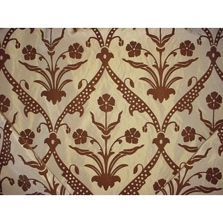 Groundworks Angelica Trellis Mocha Drapery Upholstery Fabric - 14 & 5/8 Yards For Sale