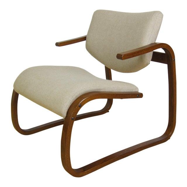 1970s Danish Modern Oddvin Rykken Cantilever Bentwood Lounge Chair For Sale