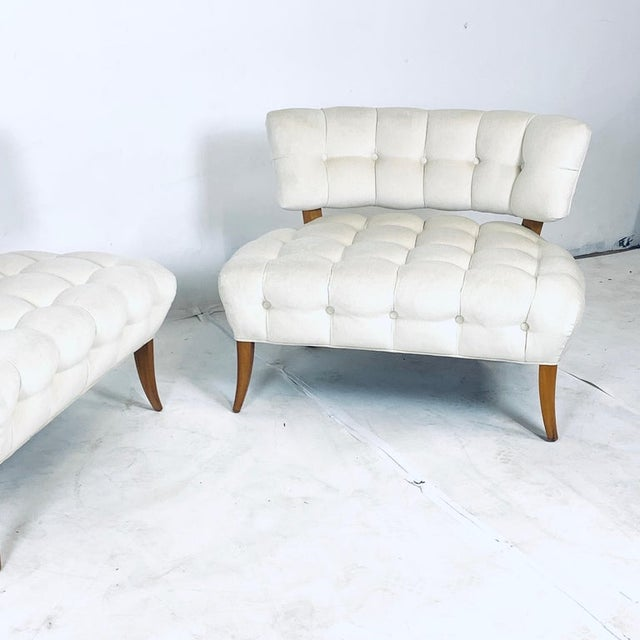 """Wiliam """"Billy"""" Haines Large Scale Regency Tufted Klismos Lounge Slipper Chairs - a Pair For Sale In New York - Image 6 of 13"""