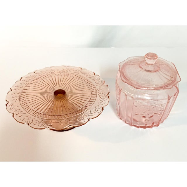 Pink Depression Glass Cake Stand & Jar - Image 3 of 7