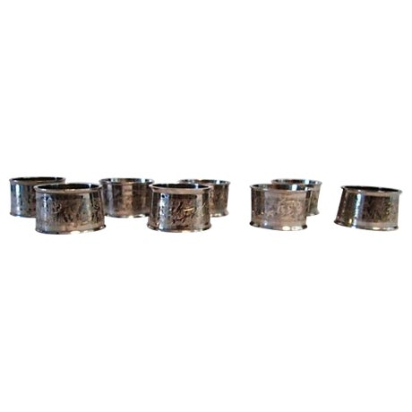 Silverplate Engraved Leaf Napkin Rings - Set of 8 - Image 1 of 5