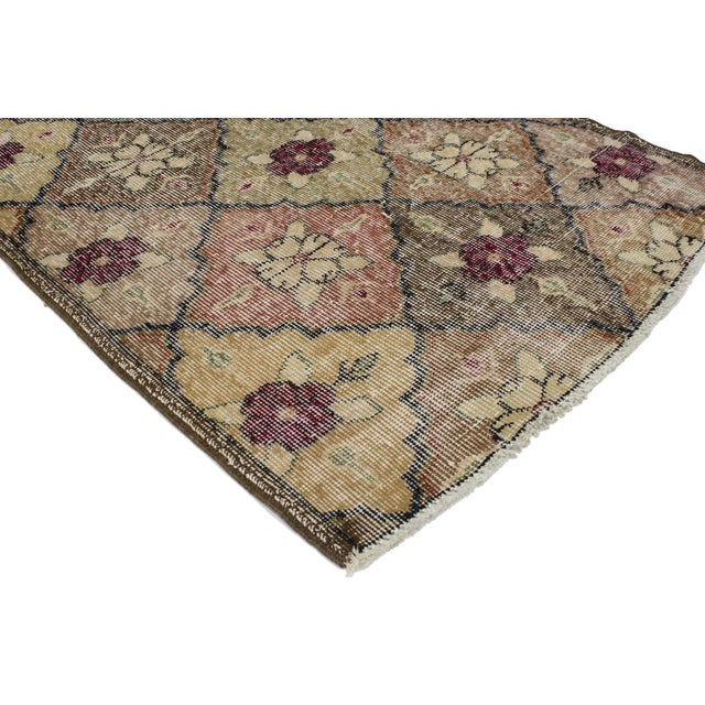 51968 Distressed Vintage Turkish Sivas Runner with Arts & Crafts Cottage Style 02'10 x 06'09. Reflecting elements of...