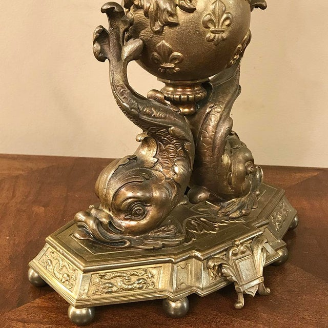 Pair 19th Century French Renaissance Dolphin Candelabra For Sale - Image 9 of 13