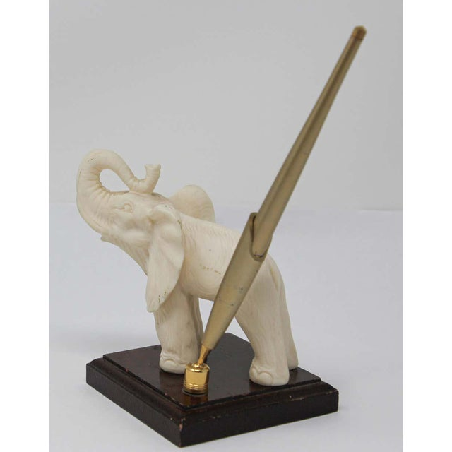 Vintage White Elephant Sculpture Pen Holder For Sale - Image 9 of 13