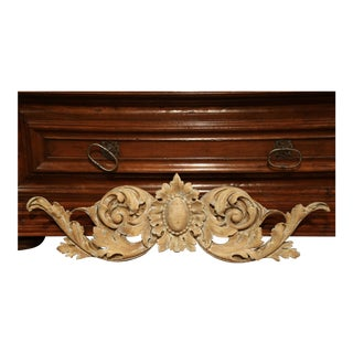 18th Century French Carved Painted Wall Sculpture With Floral Center Medallion For Sale