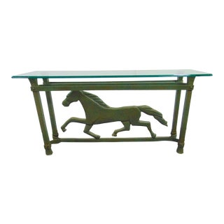 Faux Marble Aluminum Galloping Horse Console Table For Sale