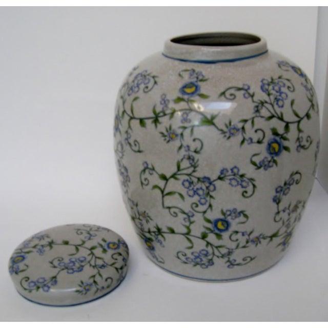 Gray Floral Ginger Jar For Sale - Image 4 of 6