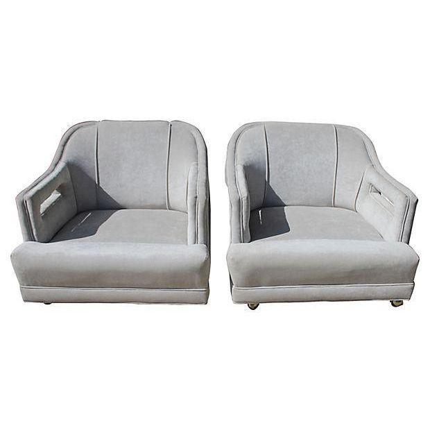 Mid-Century Gray Lounge Chairs - a Pair - Image 6 of 7