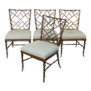 Faux Bamboo Phyliss Morris Chairs- Set of 4 For Sale
