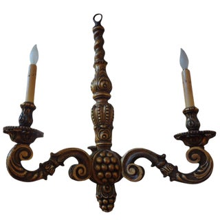 1920s Antique Italian Gilt Wood Chandelier For Sale