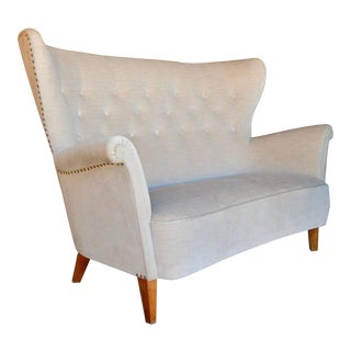 1940s Vintage Swedish Moderne Winged Back Sofa For Sale